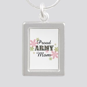 Proud Army Mom [fl2] Silver Portrait Necklace